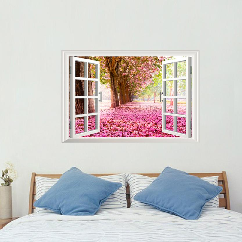 3D Window Cherry Blossom Wall Sticker Part 82