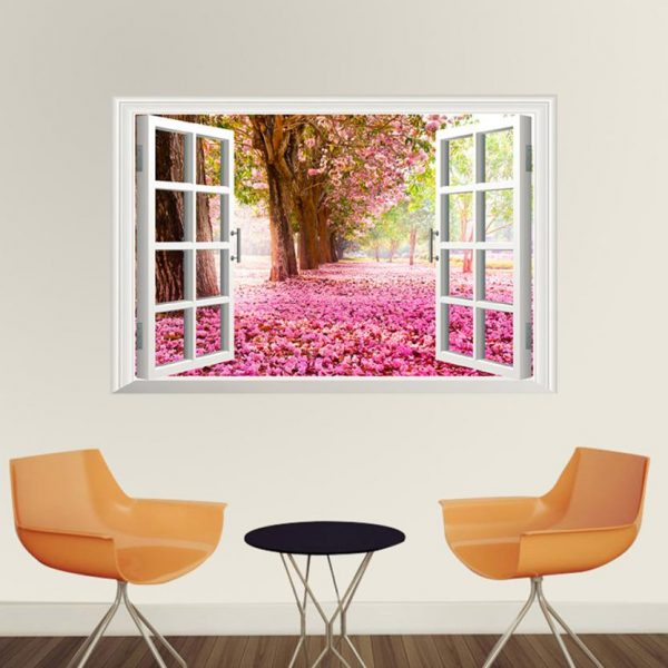 3D Cherry Blossom Window Wall Mural