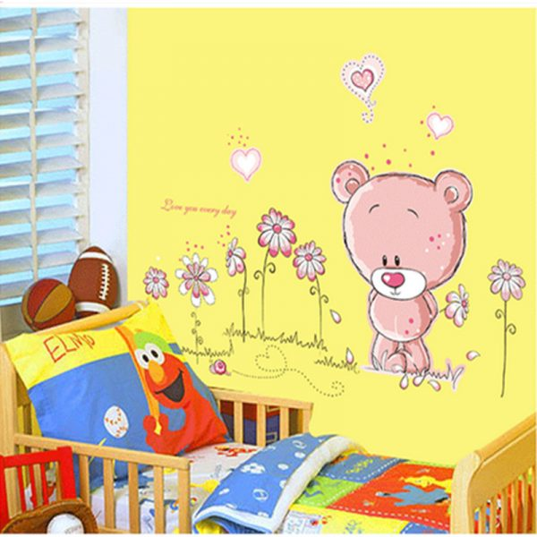 Pink Bear Nursery Kids Wall Decal