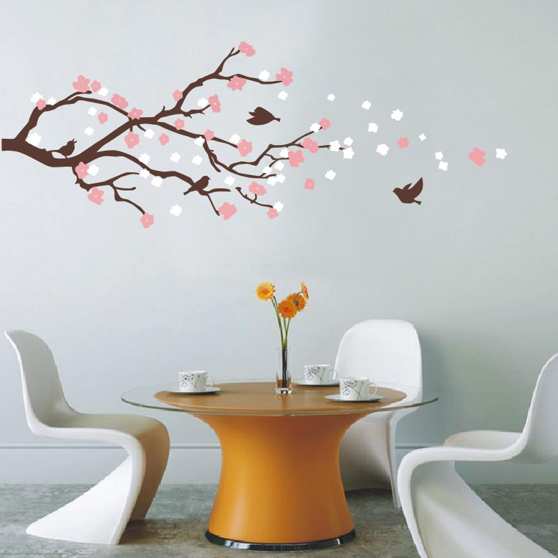 Cherry blossom tree with birds wall mural american wall for Cherry blossom tree wall mural