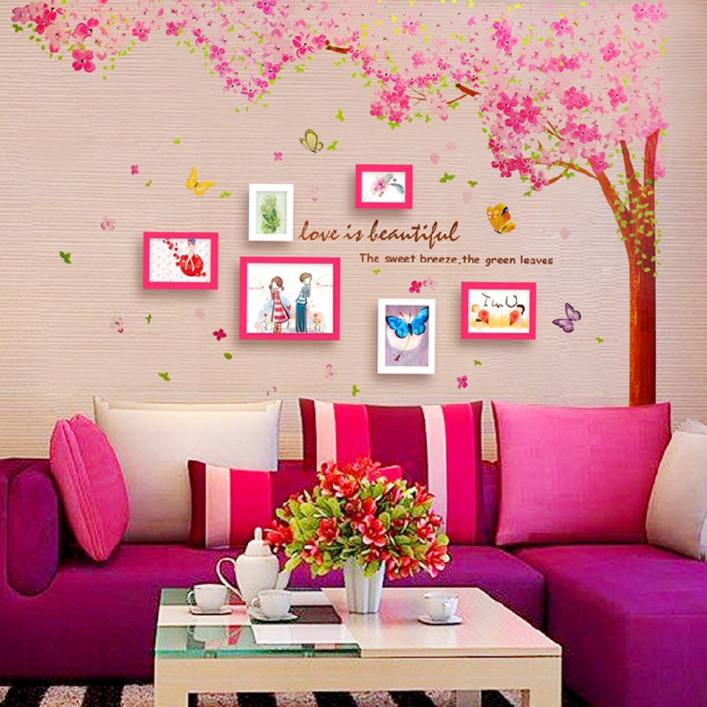 Pink Cherry Blossom Wall Decals With Tree And Butterfly American