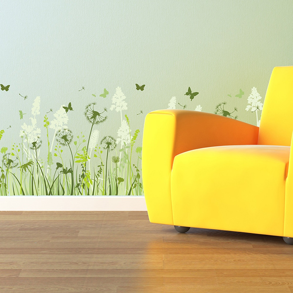 Colorful dandelions with butterfly wall decals american wall decals colored dandelion wall decals amipublicfo Images