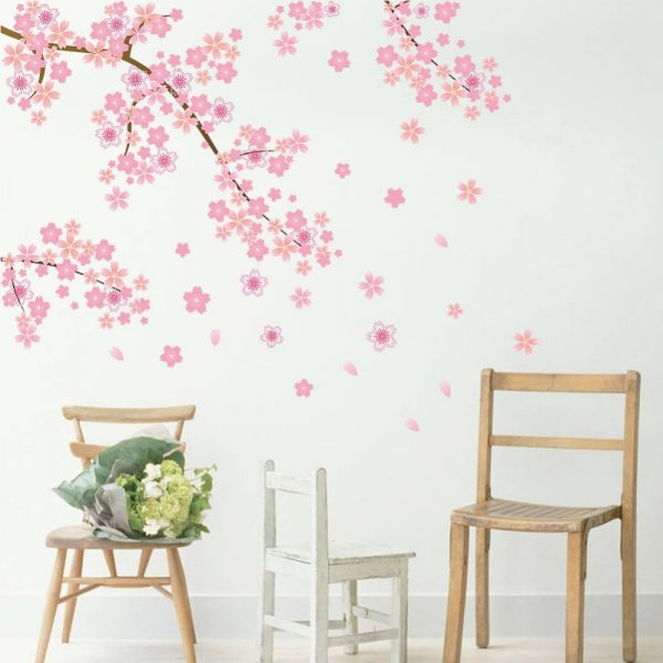 Cherry Blossom Dropping Flower Wall Mural