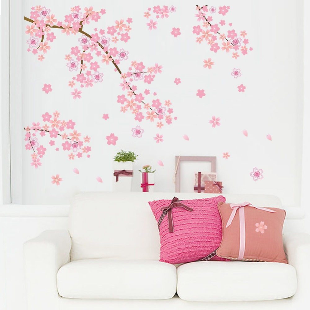 Pink Cherry Blossom Dropping Flower Wall Decal American Wall Decals