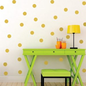 Gold Polka Dots Nursery Wall Stickers