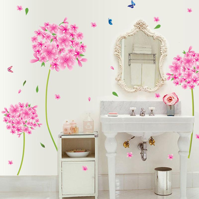 pink dandelion flower wall decals – american wall decals