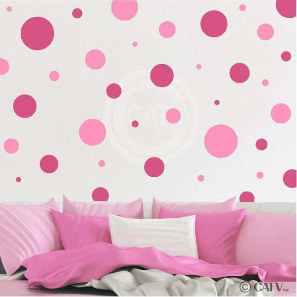 Pink Polka Dots Nursery Wall Decals